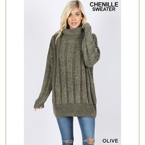 Olive Chenille Oversized Turtleneck Sweater